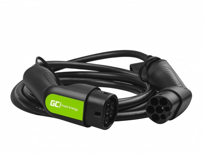Kabel Green Cell GC EV Type 2 22kW 5m do ładowania Tesla Model 3 / S / X, Leaf, ZOE, i3, ID,3, I-Pace, E-Tron, Taycan
