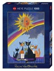 Puzzle 1000 Rodzinka kotów z tęczą w tle