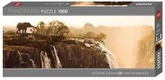 Puzzle 1000 Afryka, Zambia, Słoń przy wodopoju