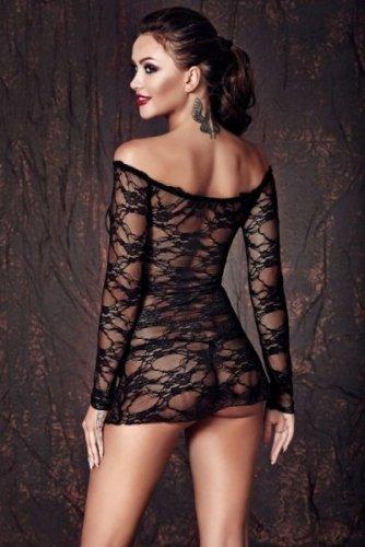 Bielizna-Lynette black chemise L (halka&string)