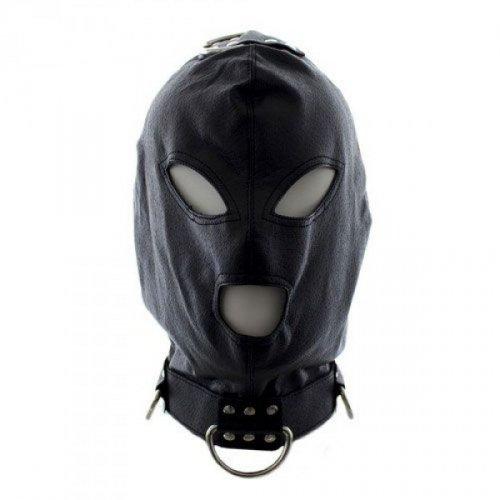 Maska-Bondage Hook Mask+Collar BLACK