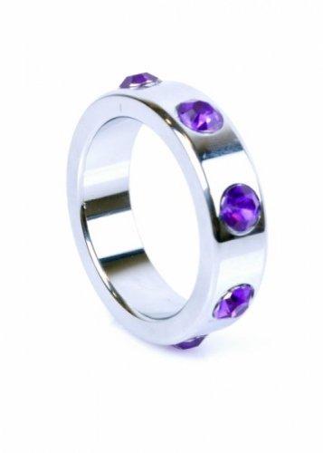 Pierścień-Metal Cock Ring with Purple Diamonds Large