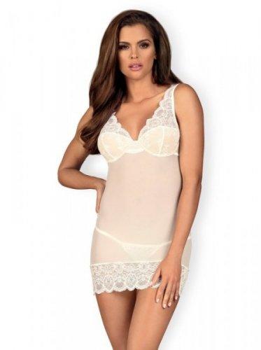 Bielizna-853-CHE-2 koszulka i stringi biała  S/M