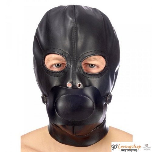 Maska Hood in leatherette with removable gag