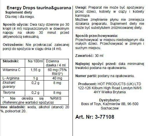 Supl.diety-Energy Drops-30ml Taurin & Guarana  (m+w)