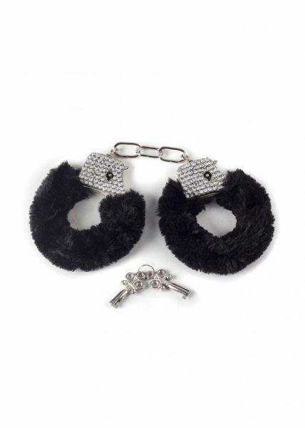 Kajdanki-Wristcuffs with crisatls BONDAGE black