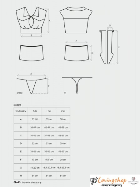 Bielizna-Student kostium 4-częściowy  S/M
