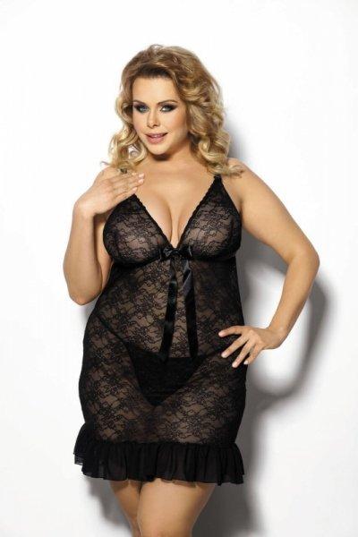 Evona black chemise L+ (czarna halka)
