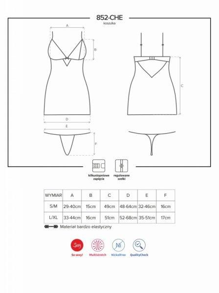 Bielizna-852-CHE-1 koszulka i stringi L/XL