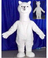 Chodząca żywa duża maskotka - Alpaka biała