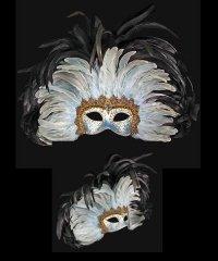 Maska wenecka - Colombina Grand Moulin Black/SkyBlue
