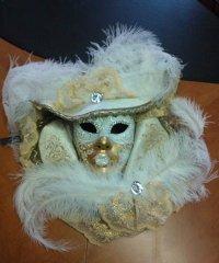 Maska wenecka - Premium Capello White