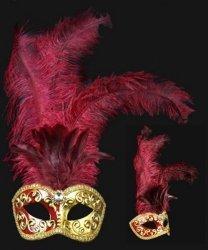 Maska wenecka - Colombina Piume Mezza Bordeaux