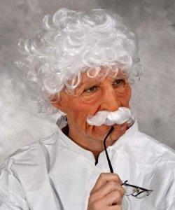 Maska lateksowa z peruką i wąsami - Szalony Profesor