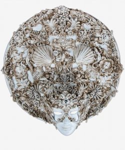 Maska wenecka - Atlas Baroque White