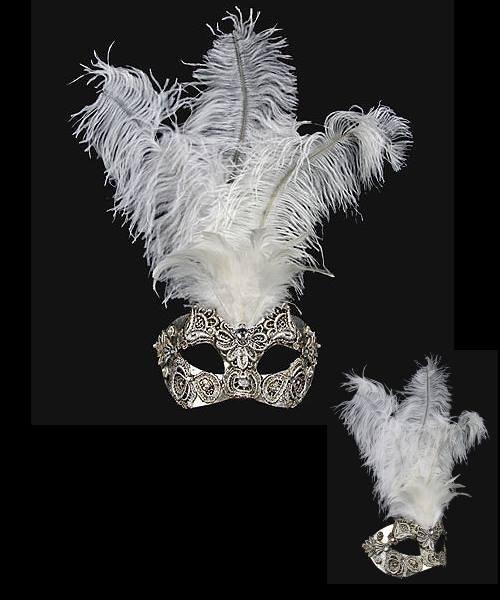 Maska wenecka - Colombina Piume Macramè Silver White