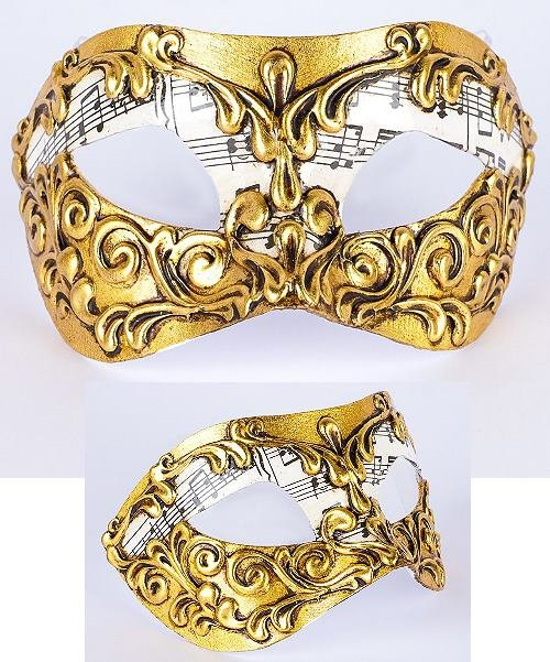 Maska wenecka - Colombina Musica Stucchi Gold