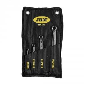 JBM Klucze oczkowe Torx E6-E24, 4 szt