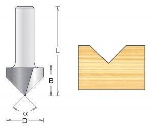 Frez rowkowy V 12,7x47x60mm chwyt 8mm