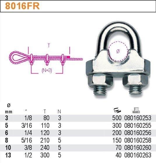Robur 8016FR/3 Zacisk linowy kabłąkowy stalowy kuty ocynk 3mm