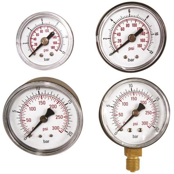 "ADLER Wskaźnik ciśnienia 0-12bar 1/8"" tylny"