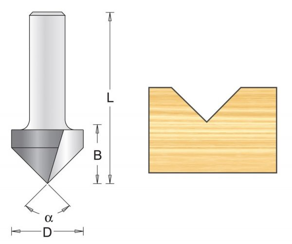 Frez rowkowy V 12,7x45x60mm chwyt 6mm