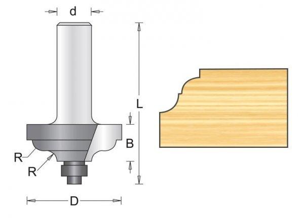 Frez profilowy z prowadzeniem 34,9x52x4,8mm, chwyt 8mm