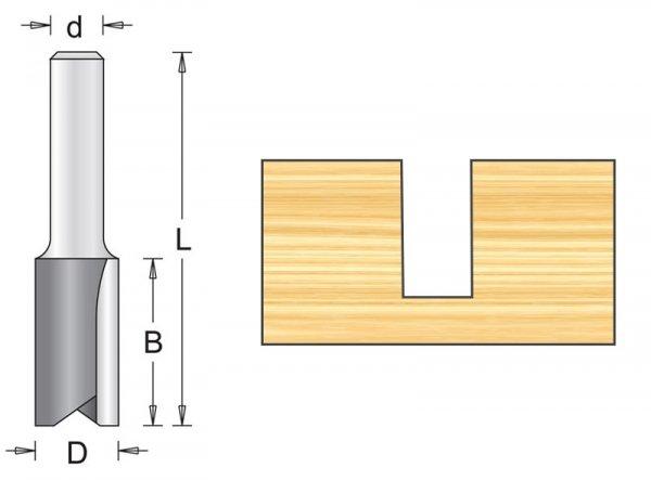 Frez rowkowy HM do wpustów 6x14x19x52mm