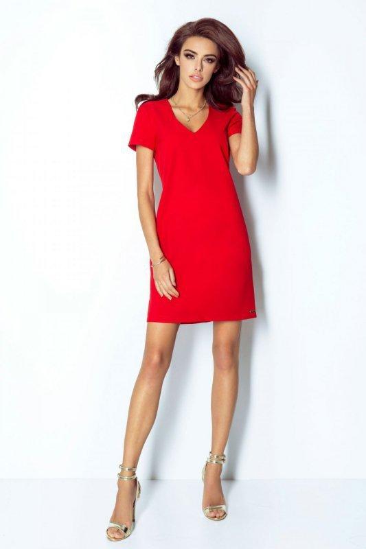 Trapezowa Sukienka Matilda - czerwony