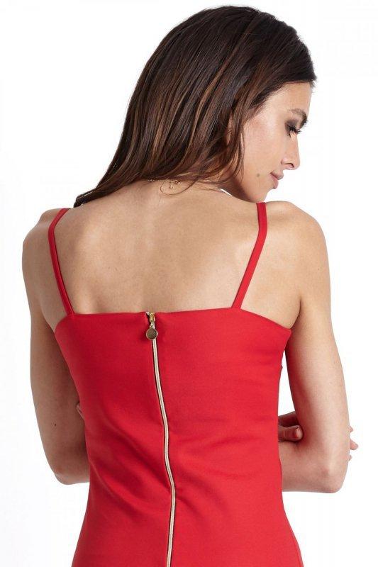 Klasyczna Sukienka Cindy z zamkiem - czerwony