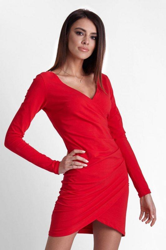 Drapowana Sukienka Nela - czerwony