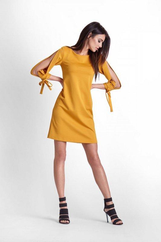 Trapezowa Sukienka Diva - musztardowy