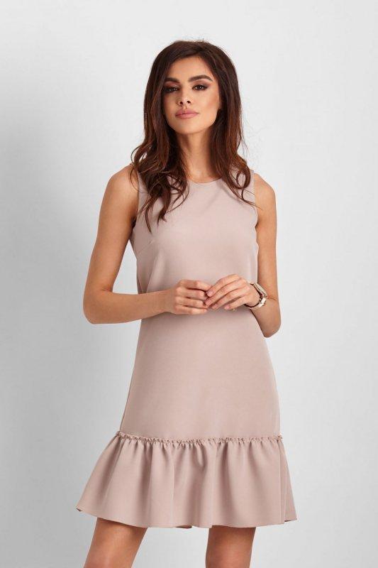 Elegancka sukienka Lorena bez rękawów - beżowy