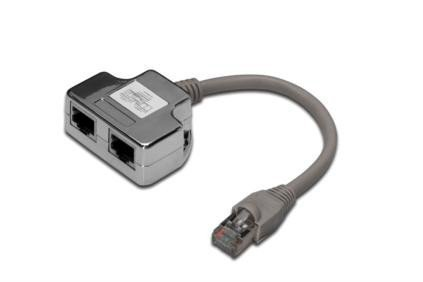 Digitus Adapter RJ45  na kablu / 2x gniazdo RJ45 ekran