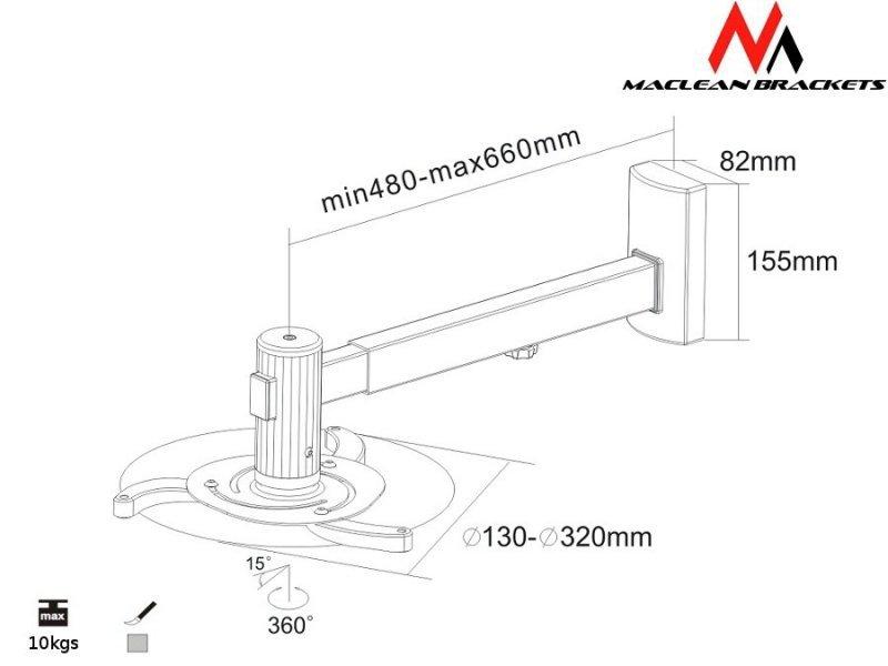 Maclean Uchwyt do projektora ścienny MC-516S Pełna regulacja