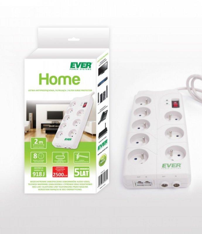 EVER Listwa Home  2M USB  8 gniazd Filtrująca