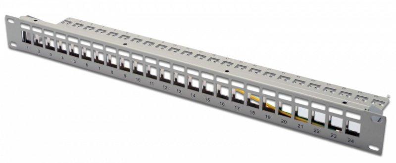 """Digitus Patch panel 19"""" 24 porty pod moduły Keystone, 1U, wspornik kablowy, szary (pusty)"""