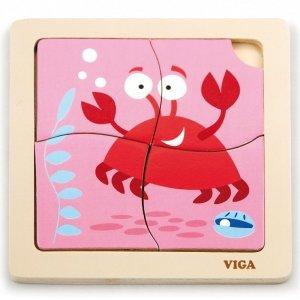 VIGA Poręczne Drewniane Puzzle Krab