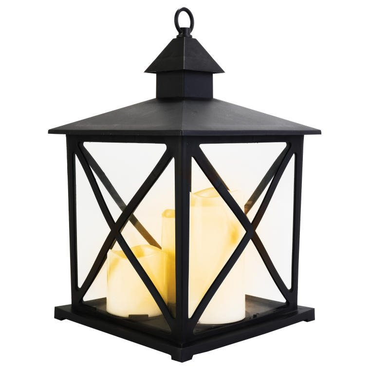 LATARNIA Z 3 ŚWIECAMI LED CZARNA LAMPION LED