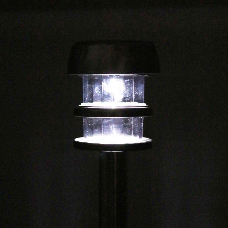 LAMPA SOLARNA SŁUPEK SREBRNA LAMPION ZESTAW 4 SZTUK