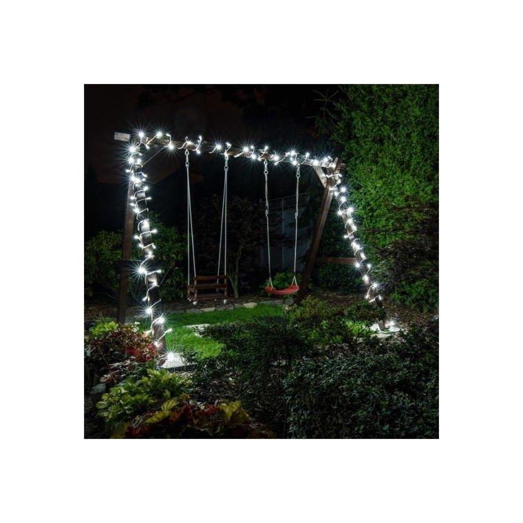 LAMPKI CHOINKOWE 160 LED ZIMNY BIAŁY ZEWNETRZNE+CZAS