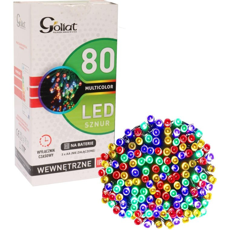 LAMPKI CHOINKOWE SZNUR LED TIMER BATERIA KOLOROWE 80 LED