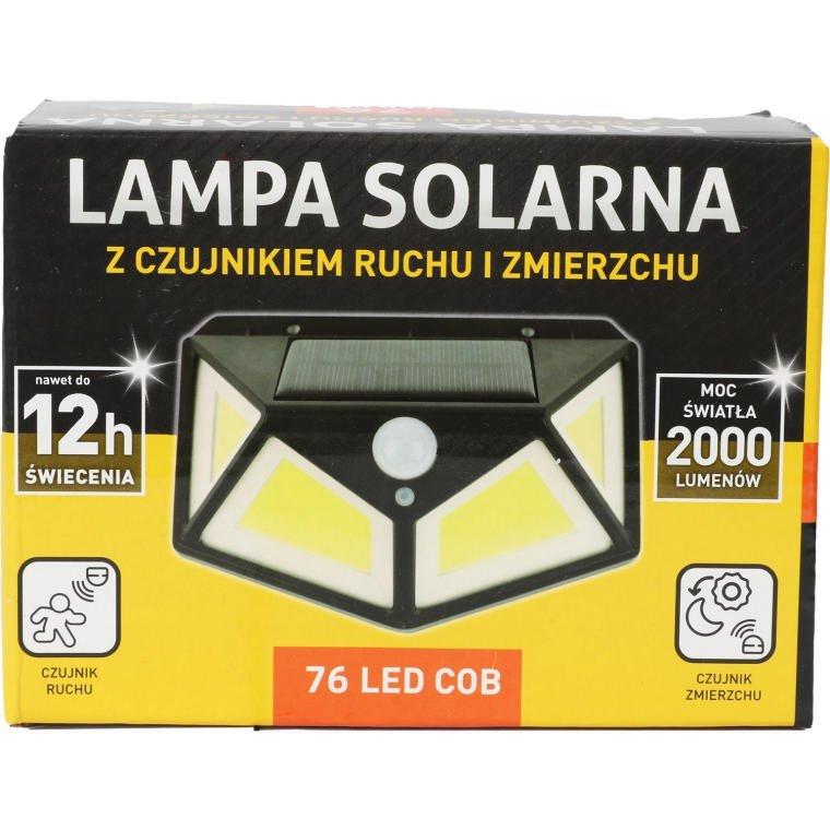 LAMPA SOLARNA CZUJNIK ZMIERZCHU I RUCHU  76 LED