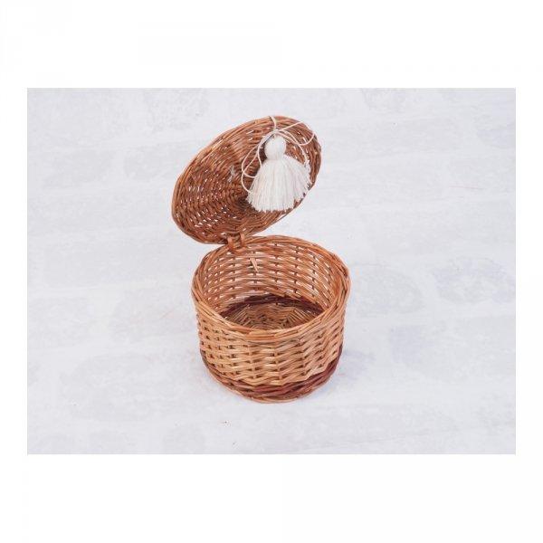 Szkatułka okrągła z pomponem (14cm) - sklep z wiklina - zdjęcie 1