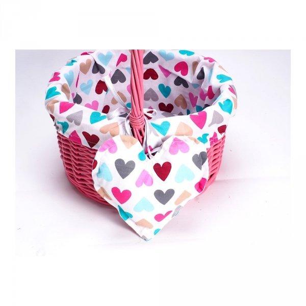 Koszyczek na zakupy ( Różowy/Serca) - Sklep z wiklina - zdjęcie 1