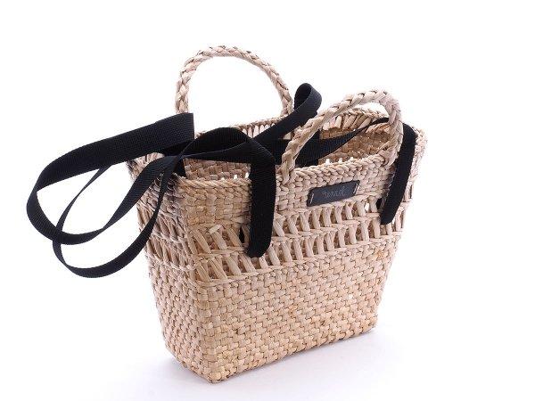Kosz - torba plażowa (Rafia/Pas/Czarny) - Sklep z wiklina - zdjęcie 1