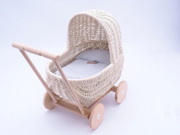 Wózek dla lalek Biały (Standard/53cm) - Sklep z wiklina - zdjęcie