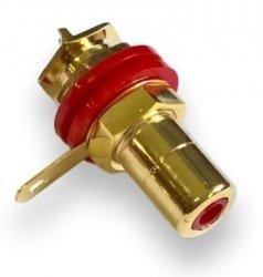Gniazdo RCA czerwone izolowane CMC Gold