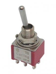 Przełącznik dźwigniowy DPDT 3 poz (on-on-on) Carling mini