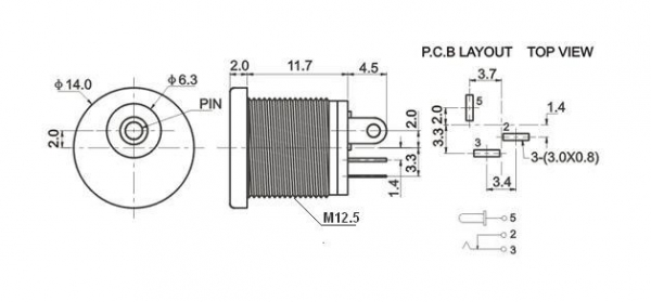 Gniazdo DC power 2.1mm / 5.5mm, styl Boss